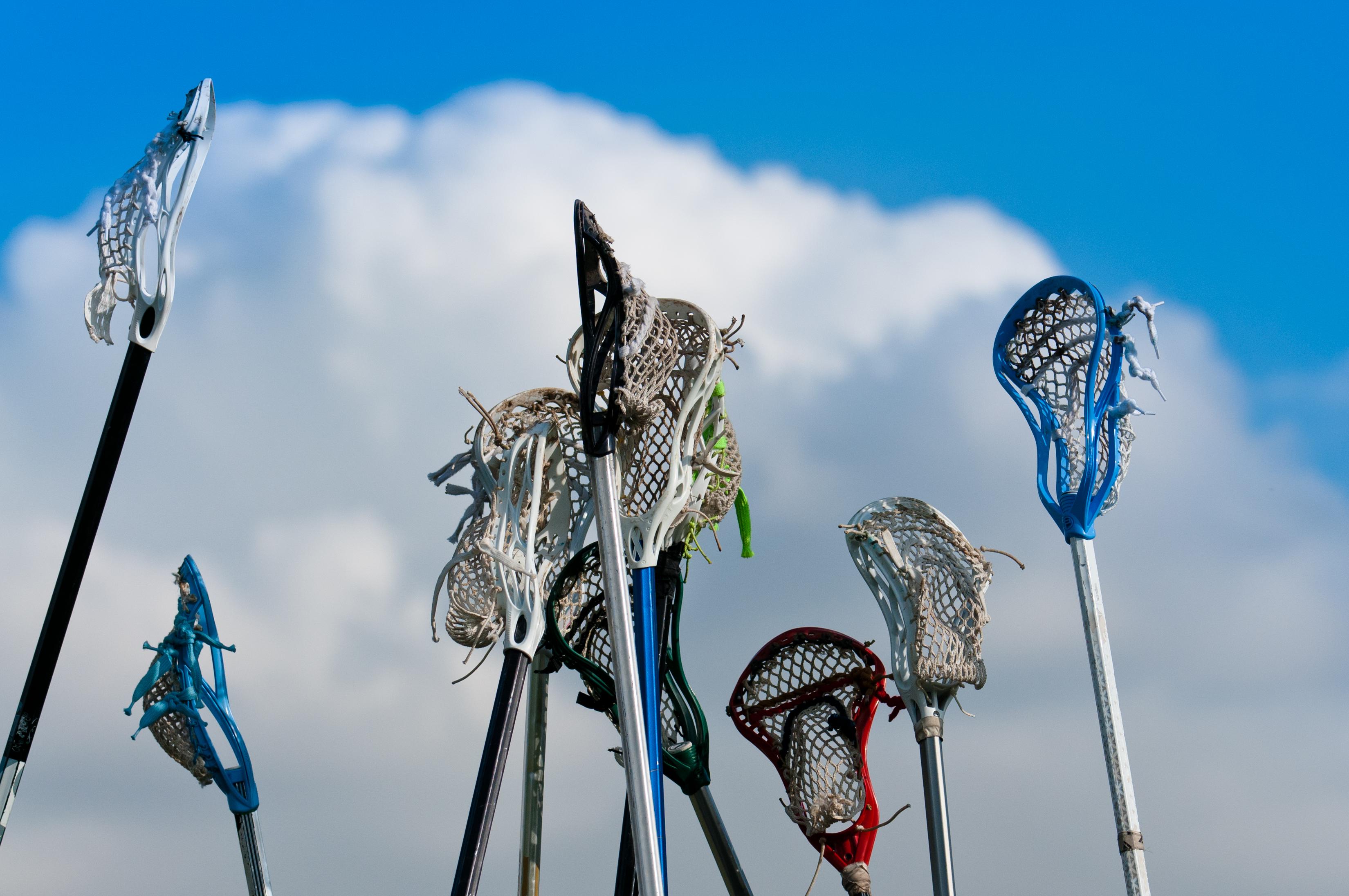 lax sticks at lacrosse training